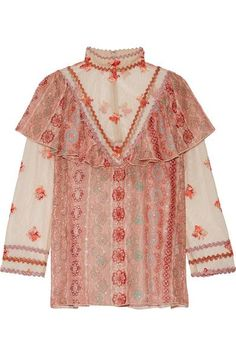 Anna Sui - Printed Metallic Fil Coupé Chiffon And Embroidered Tulle Blouse - Pink - US10