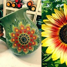 bought this jug with the intention of painting a sunflower on it but then I saw this photo and decided to give it a try. Dot Art Painting, Mandala Painting, Pottery Painting, Painting Patterns, Stone Painting, Art Patterns, Mandela Rock Painting, Sunflower Mandala, Painted Coffee Mugs