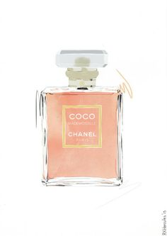 Chanel Mademoiselle peach orange perfume illustration by RKHercules | Watercolor Art, Fashion Art, Wall Art, Art Print, home decor