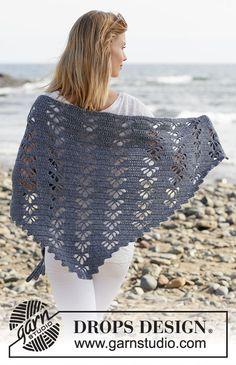 Ravelry: Wave Whisperer pattern by DROPS design Crochet Shawl Free, Crochet Shawls And Wraps, Crochet Diagram, Crochet Chart, Crochet Scarves, Easy Crochet, Crochet Lace, Crochet Hooks, Lace Shawls