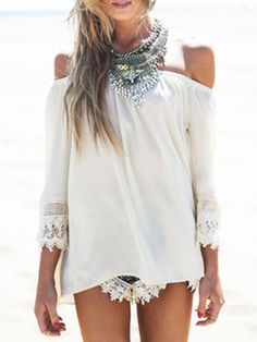 White,Off The Shoulder,Lace Sleeve,Blouse,Crochet