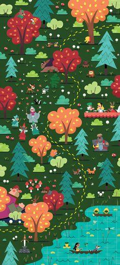 Children's Spaces | Patterns for Babies | Art Print | Illustration | Poster | Decoração Infantil | Padronagem para Bebês | Ilustração para Impressão  Disney Forest by Andrew Kolb