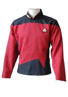 Fuman Star Trek TNG The Next Generation Rot Shirt Uniform Cosplay Kostüm Herren XS
