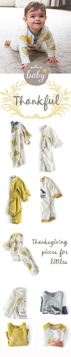 Rompers, bodysuits, sleepers, dresses, tops and tee's - all just waiting for your little turkey! Get ready for those Thanksgiving gatherings with sweet outfits from Hallmark Baby