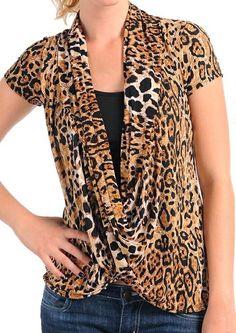 7db9ba51fc Brown Tan Leopard Drape Cowl Contrast Inset Cap Sleeves S M L