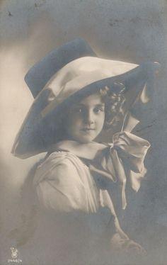 RPPC Real Photo Postcard Beautiful Edwardian Girl Big Hat Silk Ribbon | eBay