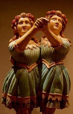 Ship figureheads - Two heads are better than one. This very rare twin figurehead, taken from an unknown vessel, is in the collection of the Mariners Museum at Newport News in Virginia.