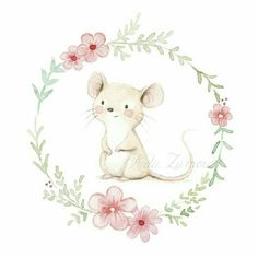 Watercolor baby mouse and flowers for baby shower cards, inviti battesimo, card segnagusto confetti Cute Animal Drawings, Animal Sketches, Cute Drawings, Maus Illustration, Illustrations, Illustrators On Instagram, Cute Cartoon Wallpapers, Baby Art, Nursery Art
