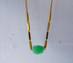 green chalcedony faceted nugget on vintage chain