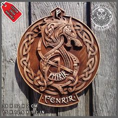 Fenrir Wolf Tyr Odin Viking Valhalla Home Decor Norse Thor Wood Picture Pagan Gods Carving Heathen Asatru Celtic Norse Rune Wall Hanging – Schnitzerei Norse Runes, Norse Mythology, Art Viking, Viking Decor, Viking Shield, Celtic Tattoos, Viking Tattoos, Fenrir Tattoo, Rune Tattoo