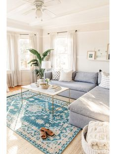 The worldly traditional rug in colors you've never seen before. Featuring geometric medallions and a traditional bordered design, this rug brings a bohemian-chic look to any room. We love the saturated blue hue for a pop of color too. Living Room Goals, Home Living Room, Apartment Living, Living Room Designs, Living Spaces, Small Living, Bright Living Room Decor, Modern Living, Minimalist Living