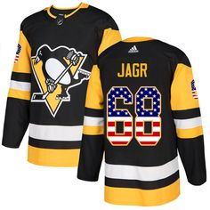 691aebcd5 Adidas Penguins  68 Jaromir Jagr Black Home Authentic USA Flag Stitched NHL  Jersey Jake Guentzel