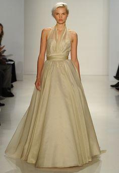 Gold Halter Wedding Dress | Amsale Fall 2015 Wedding Dresses | Maria Valentino/MCV Photo | Blog.theknot.com