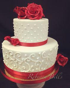 Red gum paste roses on rolled fondant #weddingcake #barrymorelv #lasvegas
