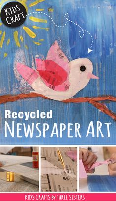 Newspaper Art! Introduce kids to mixed media & recycling by creating fun bird art from newspapers, party streamers, buttons & paint.