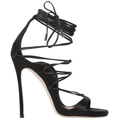 Dsquared2 Women 120mm Riri Lace-up Satin Sandals ($990) ❤ liked on Polyvore featuring shoes, sandals, black, lace up shoes, high heel sandals, leather sole shoes, dsquared2 shoes and wrap around sandals
