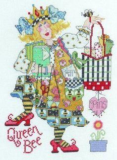 0 point de croix femme couturiere et abeille - cross stitch Alma Lynne sewing Queen Bee