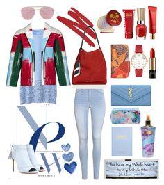 """New RGB Style"" by nafilahnovehani ❤ liked on Polyvore featuring H&M, NARS Cosmetics, Uniqlo, Canvas by Lands' End, Aquazzura, Boohoo, Patricia Nash, Kate Spade, Yves Saint Laurent and kikki.K"
