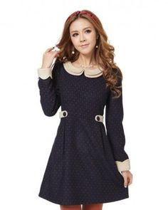 Dark Blue Retro Collar Polka Dotted Korean Fashionable Mini Dress 1