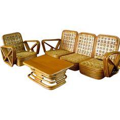 Paul Frankl Salesman Sample Rattan Furniture c.1950 Vintage Miniature Florida Room Chair Sofa Table