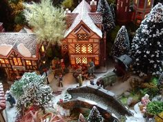 Miniature village scenes during the holidays Christmas Village Display, Christmas Town, Christmas Time Is Here, Old Fashioned Christmas, Christmas Villages, White Christmas, Vintage Christmas, Christmas Holidays, Christmas Crafts