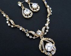 Wedding jewelry SET Rhinestone necklace and earrings Bridal
