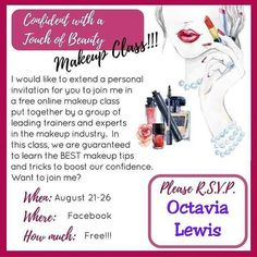 I'm am super excited to announce a FREE -all online- makeup course! If you feel like you lack the confidence or 'know how' in makeup application or even if you just want to pick up a few extra tips this class is for you!  Comment message or text me asap! I have limited invitations! no presenters pls