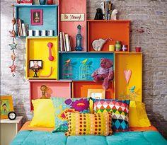 cabeceira de cama criativa de gavetas