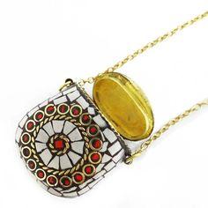 Gold Tone Metal White Coral Mosaic Tiles Chain Bottle Pendant Fashion Jewelry