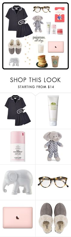 """Sans titre #112"" by slowlymydarling ❤ liked on Polyvore featuring DKNY, Origins, Drunk Elephant, Jellycat, The Elephant Family, Cutler and Gross, UGG and Aromatherapy Associates"