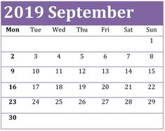 September Calendar 2019 Printable Notes and To Do list Calendar 2019 Printable, Custom Calendar, Blank Calendar, Calendar 2020, Calendar 2019 With Holidays, September Calendar, Printable Numbers, Busy Life