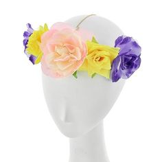 "‼️PRICE FIRM‼️Beautiful Floral Head Chain Gold Tone/ Multi Color Fabric/ Lead&Nickel Compliant/ Flower/ Head Chain/ 19""+ 3""L R.E.A.L Jewelry Accessories Hair Accessories"