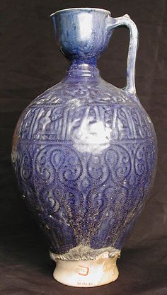 Ewer Date: 12th–13th century Geography: Iran Culture: Islamic Medium: Stonepaste; glazed