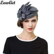 A302 Women Wool Felt Pillbox Fascinator Wedding and festival Hat Fedoras vintage Party Gray Hats with fascinating Floral design(China (Mainland))