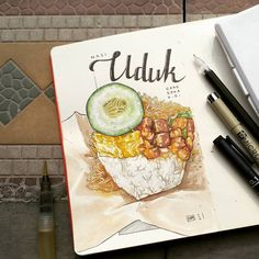 Breakfast Food Art Cooking 49 Ideas For 2019 Watercolor Food, Watercolor Sketch, Food For Dry Skin, Food Sketch, Food Cartoon, Food Painting, Diy Art Projects, Food Drawing, Indonesian Food