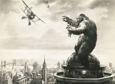 """Terrifying Vintage KING KONG 1933 Concept Art by Mario Larrinaga and Byron Crabbe.and also proof positive about how cranky some Air Traffic Controllers can be.they get their """"monkey (temper)"""" up. King Kong 1933, Gustave Dore, Skull Island, Merian, Classic Horror Movies, Classic Films, Fantasy Monster, Classic Monsters, Building Art"""