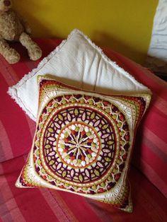 Ravelry: Dandelion Mandala Overlay Crochet pattern by Tatsiana Kupryianchyk (paid pattern) Crochet Mandala Pattern, Crochet Cross, Crochet Home, Crochet Patterns, Crochet Cushion Cover, Crochet Cushions, Crochet Pillow, Crochet Blocks, Crochet Squares