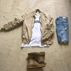 Outfit grid - Casual style in beige