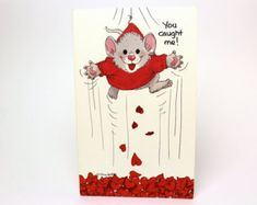 """Vintage 1991 Suzy's Zoo Valentine's Greeting Card """"You caught me! I'm yours!"""" - Mouse Hearts - by Suzy Spafford - Printed in U. Valentine Messages, Valentines Greetings, Valentine Greeting Cards, Lego Basic, Vintage Lego, Letter Set, Heart For Kids, Stationery Set, Vintage Holiday"""