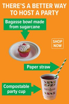 Reduce your landfill footprint with eco-friendly party supplies from PartyAware. Party Cups, Paper Straws, Host A Party, Footprint, Feel Good, Party Supplies, Eco Friendly, Feeling Great Quotes, Party Items