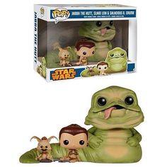 Walmart exclusive Funko POP Jabba the Hutt, Slave Leia, and Salacious B. Crumb Pack de 3 figuras