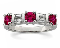 Diamond and ruby wedding band for anniversary ring for her.