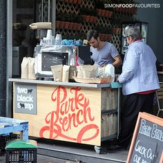 Park Bench Pop Up Cafe, CBD Sydney Apr Funky rustic makeshift set up. Coffee Van, Coffee Shop, Bike Coffee, Cafe Bench, Mobile Coffee Cart, Coffee Bar Wedding, Coffee In A Cone, Pop Up Cafe, Sydney Cafe