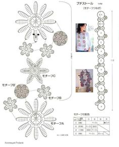 "Photo from album ""Цветочные шарфики"" on Yandex. Crochet Flower Scarf, Crochet Flower Patterns, Freeform Crochet, Crochet Diagram, Afghan Crochet Patterns, Flower Applique, Crochet Chart, Crochet Scarves, Irish Crochet"