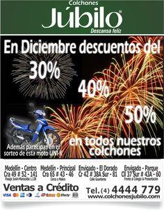En diciembre descuentos del 30%, 40% y 50%. Llamanos (4) 4444 779 - www.colchonesjubilo.com Comic Books, Comics, Cover, Prize Draw, December, Parks, Cartoons, Cartoons, Comic