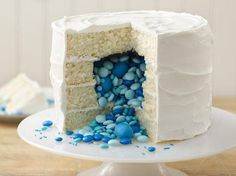 Gender Reveal Cake idea: How to fill the cake with pink or blue candies. (Or yellow if you want to mess with your guests, ha.)