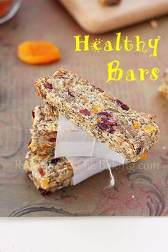 healthy snack bars   8 oz unsweetened applesauce  1 cup dried fruit (I used half cranberries, half apricots)  1/3 cup sunflower seeds  1/4 cup hemp seeds  1 cut rolled oats  2/3 cup unsweetened dessicated coconut  1/3 cup chia seeds  1/4 cup flaxseed meal + 1/2 cup water  http://www.roxanashomebaking.com/healthy-snack-bars-recipe/ Roxanashomebaking.com