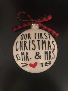 Our First Christmas Ornament Married Personalized Christmas Ornaments - Mr and Mrs - gifts couple - newlywed gift - just married