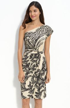 { Donna Morgan One Shoulder Print Jersey Dress, from Nordstrom [$118] }