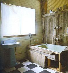 Natural wood. I like the shower - faucet design